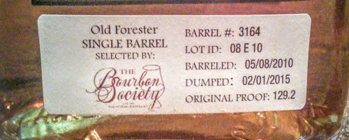 Old Forester Single Barrel Society Selection rear label