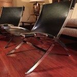 Sold Leather Chrome Paul Tuttle Style Sling Chairs