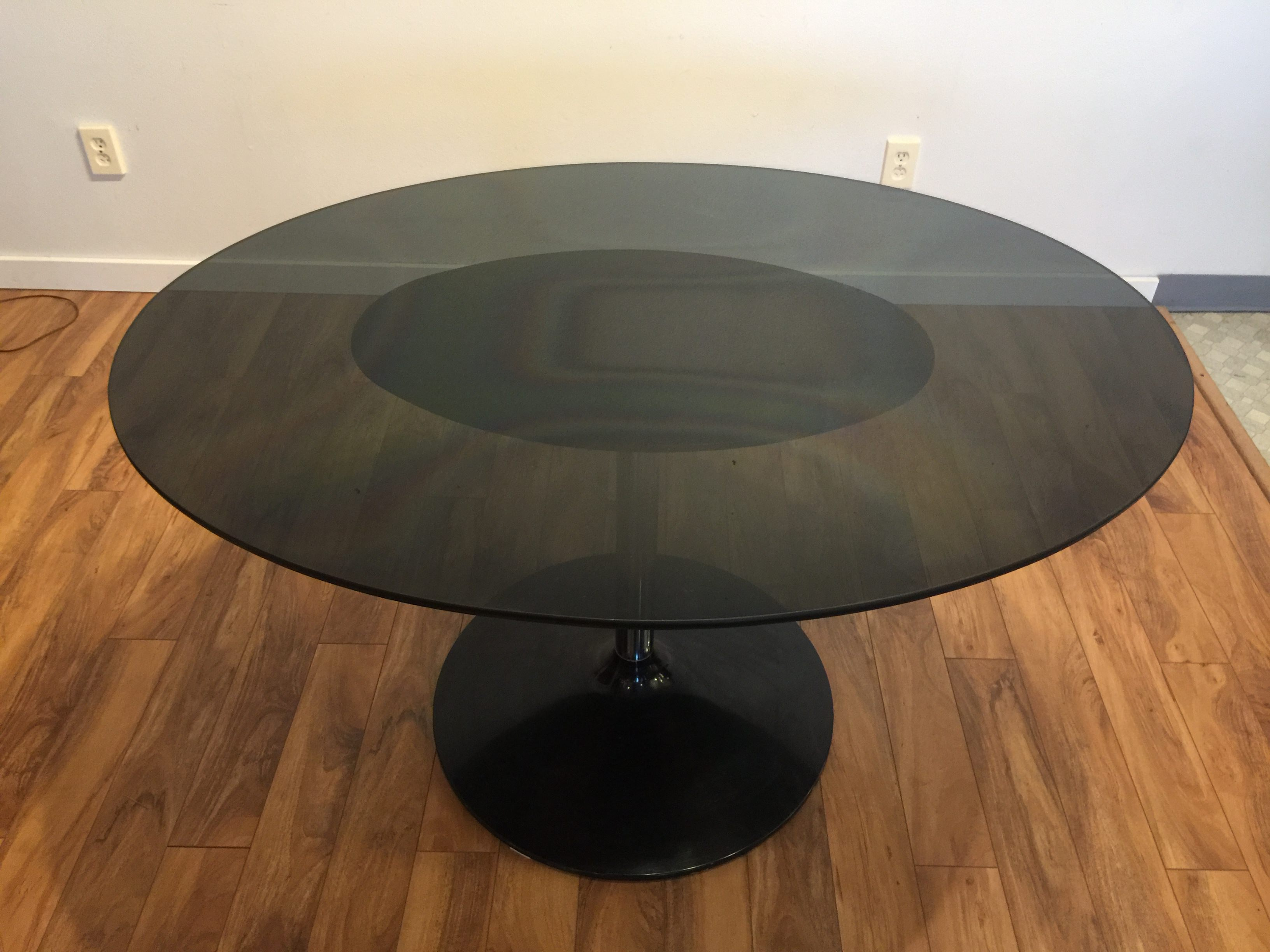 SOLD Vintage Smoked Glass Oval Dining Table Modern To Vintage