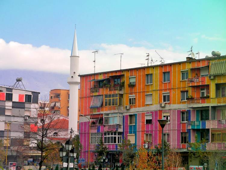 Multi-Coloured Houses in Tiranë, Albania
