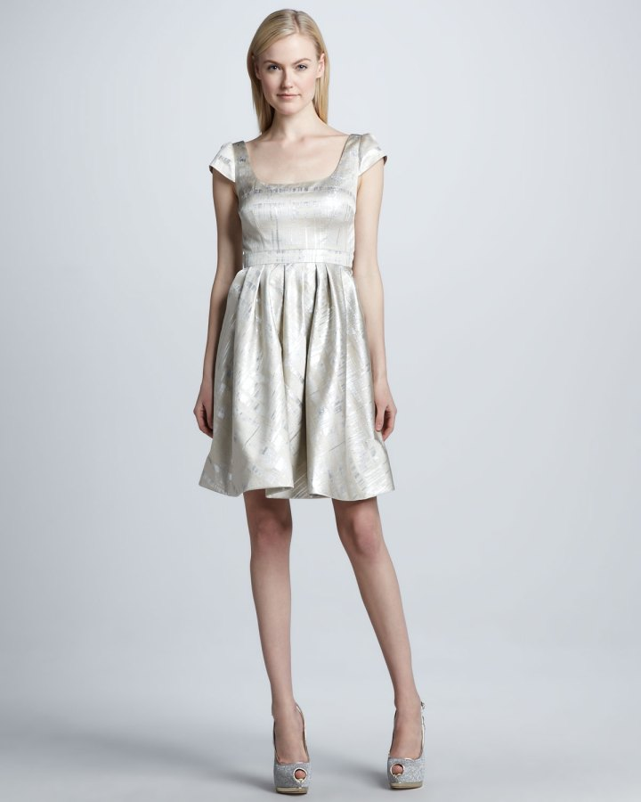 -Metallic-Cap-Sleeve-Cocktail-Dress