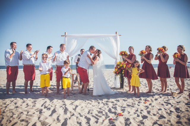 colorful beach wedding