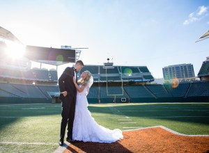 elegant stadium wedding