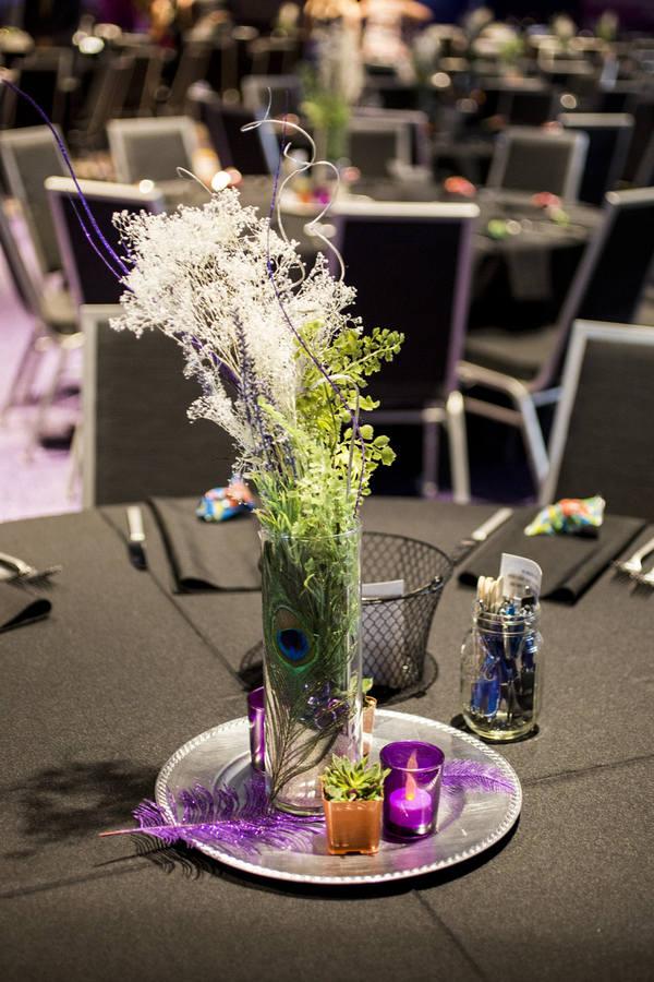 purple stadium wedding