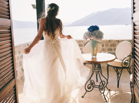 Bride at ocean