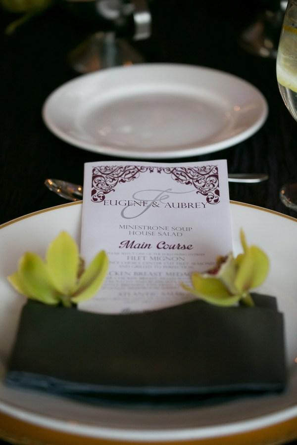 purple ballroom wedding