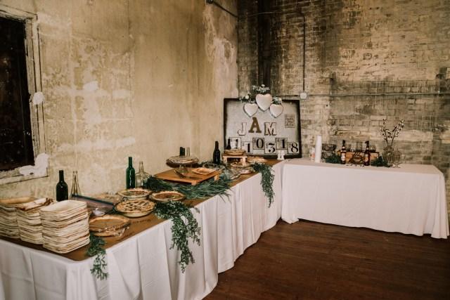 green industrial wedding