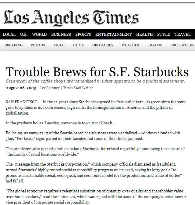 Trouble Brews for S.F. Starbucks - Los Angeles Times