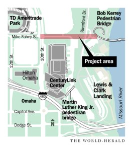 Proposed bike/ped bridge area.