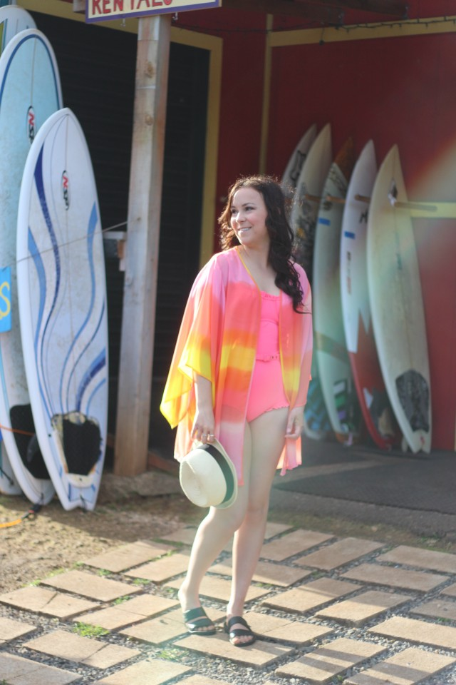 Neon Sunset Kimono Beach Outfit 8