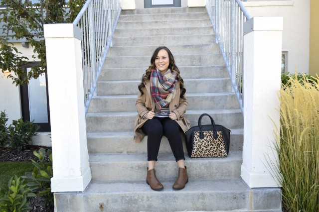 Blanket Scarf, trench coat, stripes and leopard! So cute!