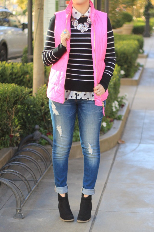 Cute pink vest, striped sweater with polka dot shirt pattern mixing