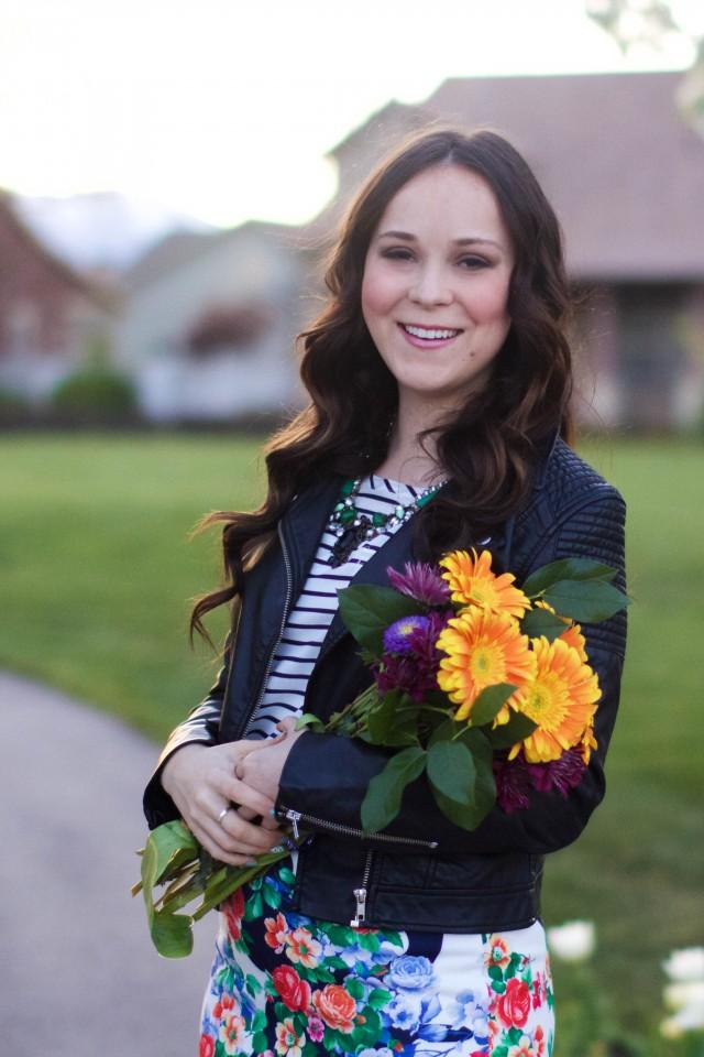 Modest floral pencil skirt