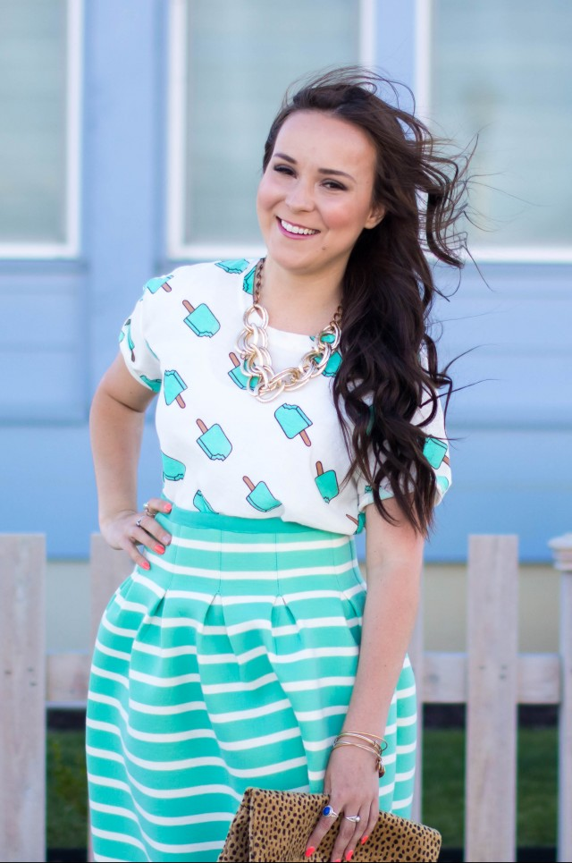 Mint Striped Skirt Neesees Dresses (14 of 27)