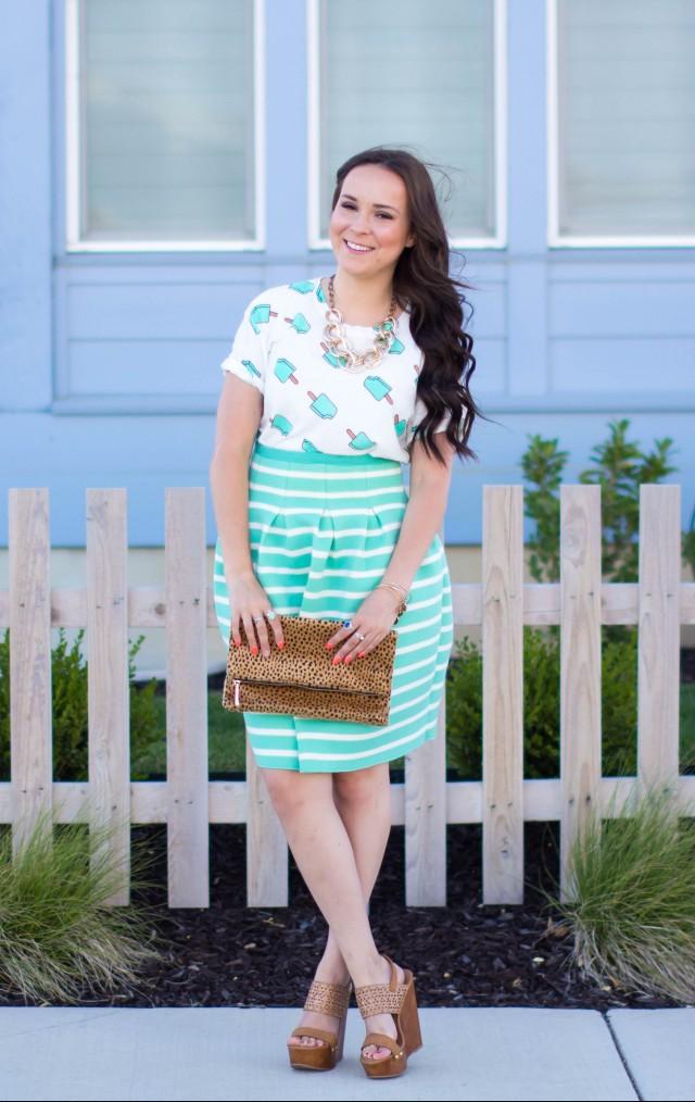 Mint Striped Skirt Neesees Dresses (7 of 27)