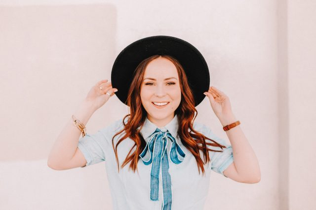 Chambray Neck Tie Blouse | Modest Fashion Blog