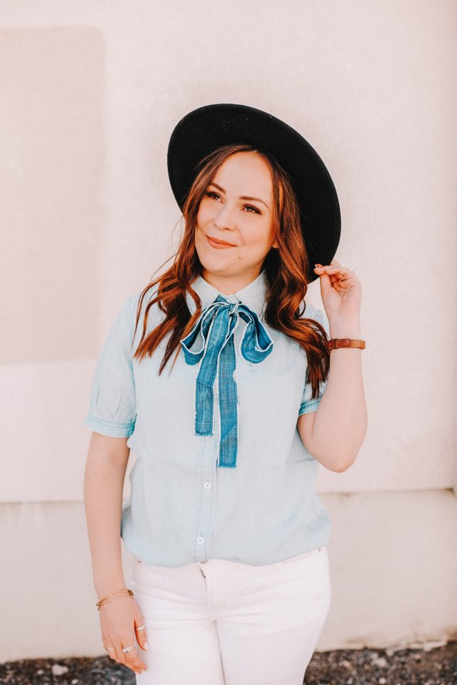 Chambray Neck Tie Blouse