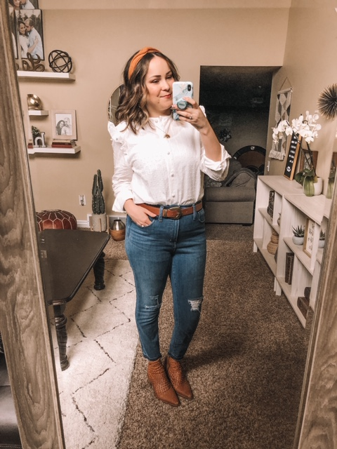 Shein Review Try On White Blouse Modest Style Blog Fashion Blogger Utah