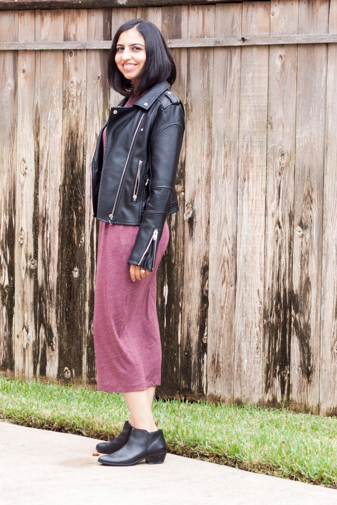 modest fall outfits moto jacket midi dress