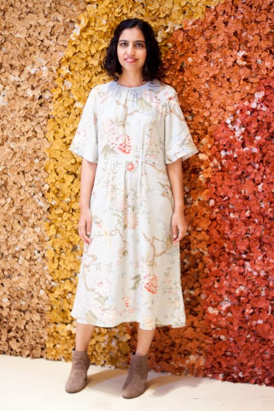 how to wear fall florals blue dress booties
