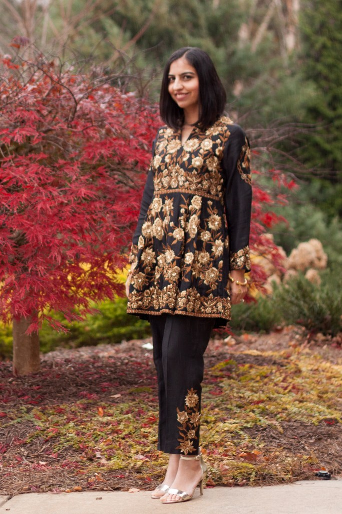 pakistani wedding fashion black and gold peplum and pants