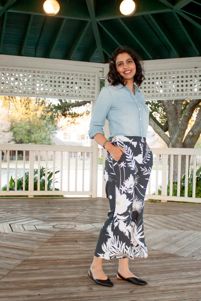chambray shirt outfit ideas with floral pants