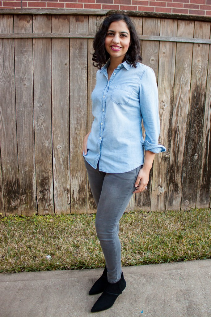 chambray shirt outfit ideas with gray jeans