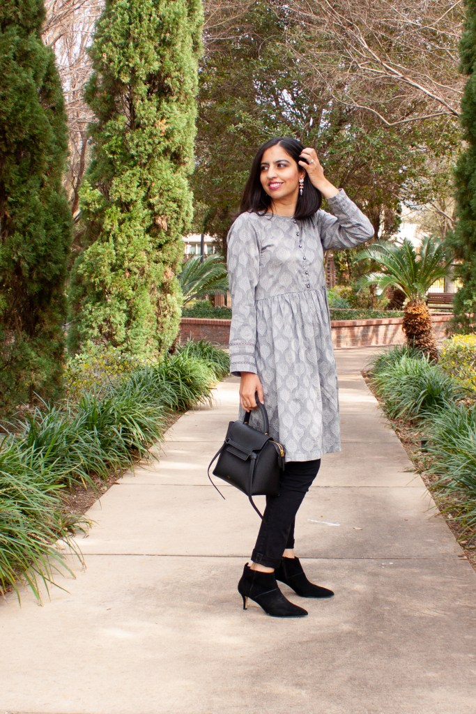 mixing ethnic pieces into your wardrobe gray kurta over black jeans