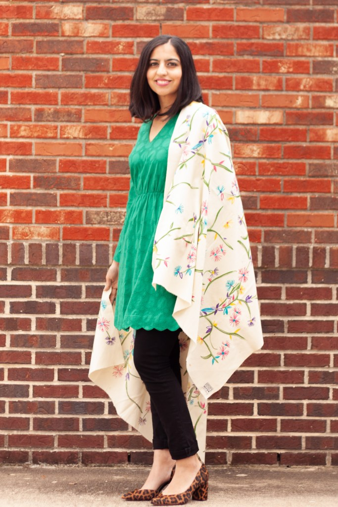 mixing ethnic pieces into your wardrobe colorful Pakistani shawl