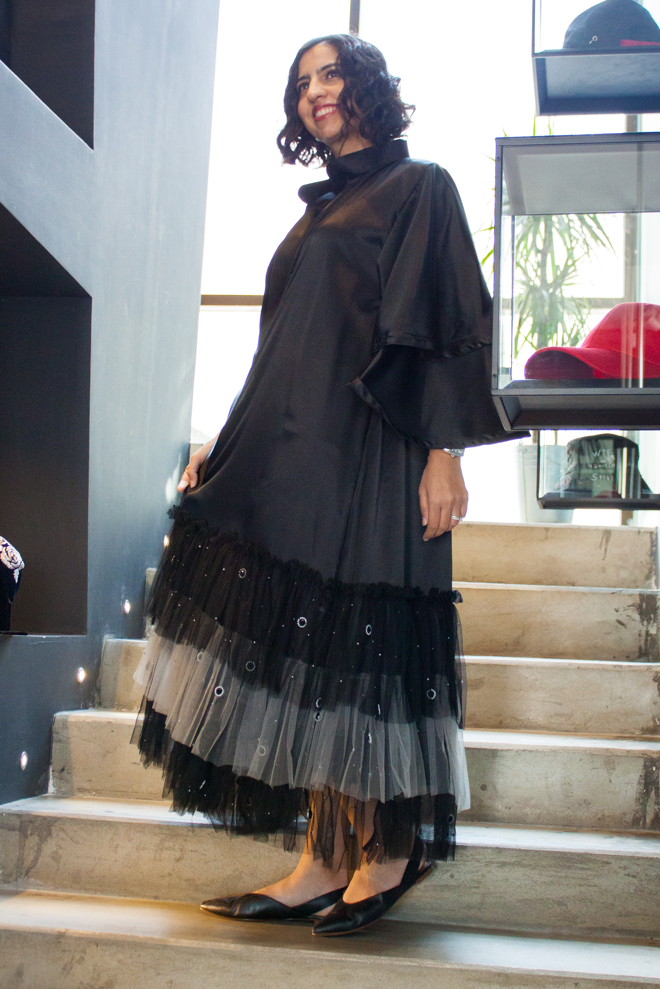 emaan qirat at the district black tulle abaya