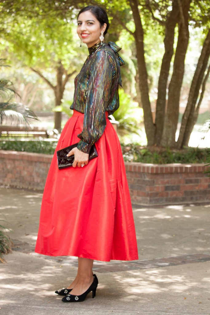 modest christmas party dresses rainbow shirt and red skirt