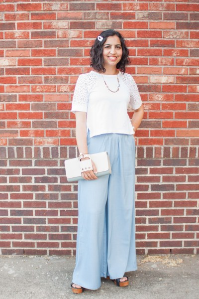 modest style with sotra fashion blue pants