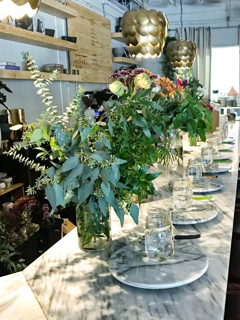 flower arranging class at the heavy