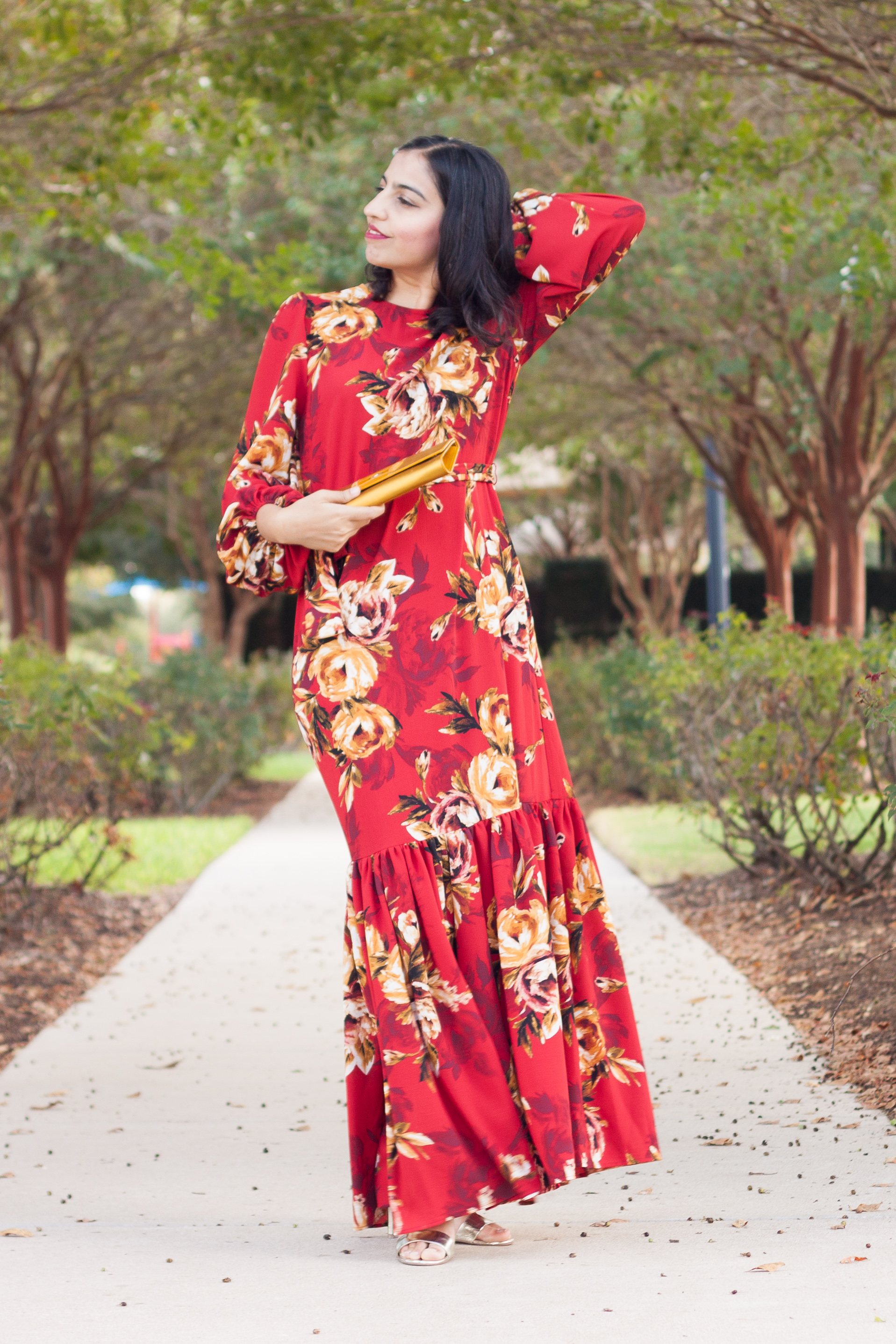 modest dress by louella red with yellow floral maxi