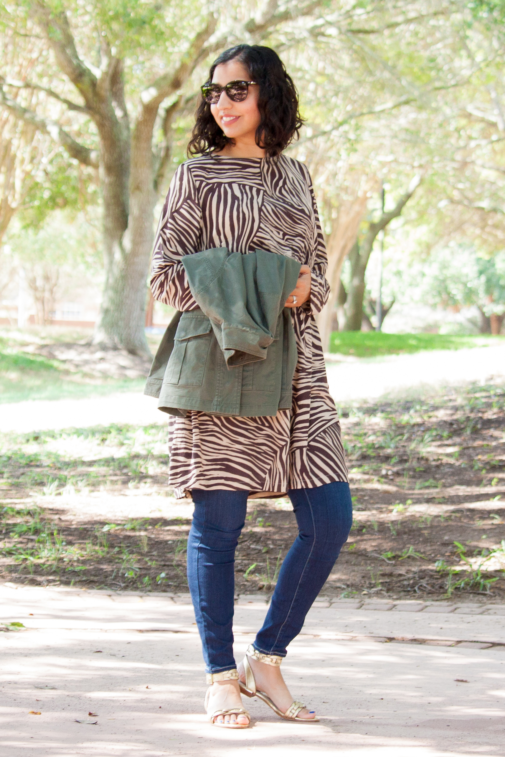 zebra print dress over jeans