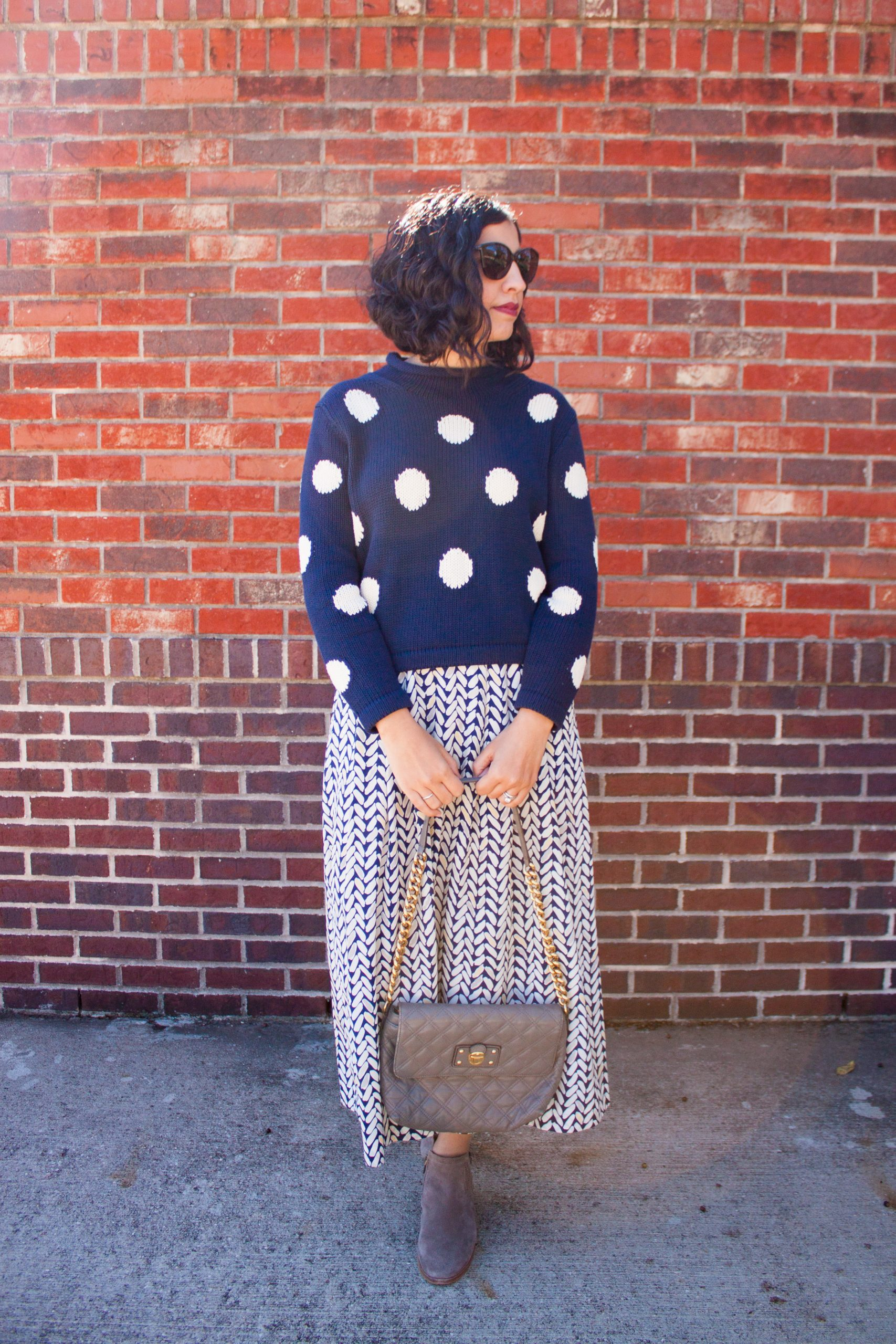 favorite fall sweaters navy polka dot