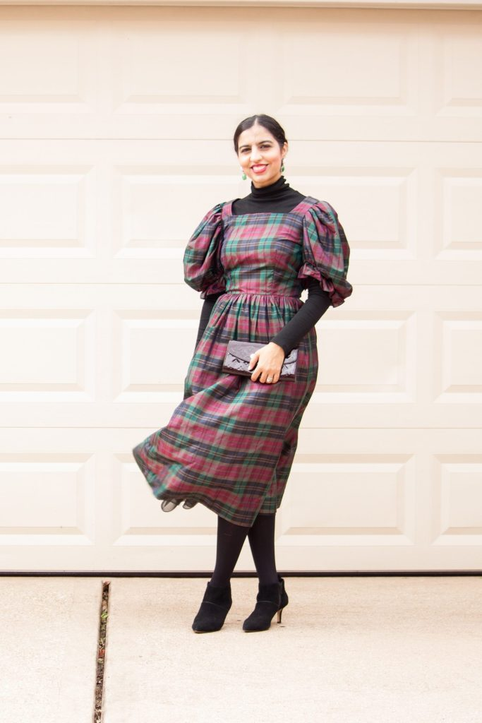 modest holiday party dresses puff sleeve plaid