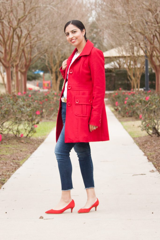 modest Valentine's day outfit red coat and shoes