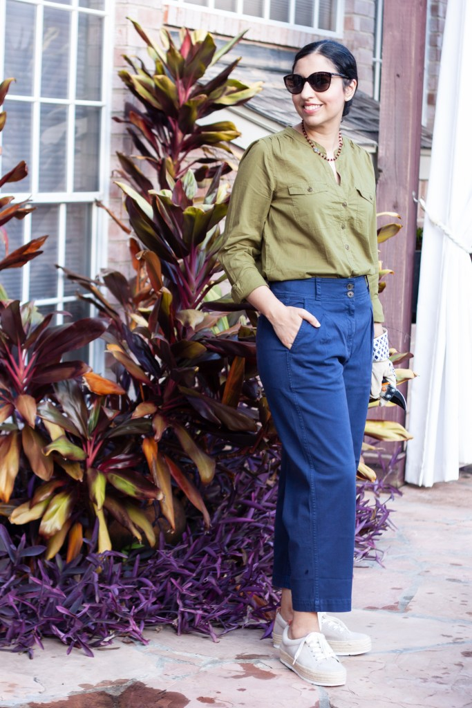 military button down and navy chinos