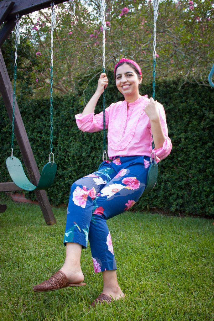long sleeve pink eyelet top with navy and pink floral pants
