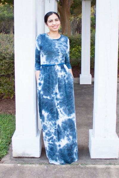 modest fashion brand skirt society long sleeve tie dye maxi dress