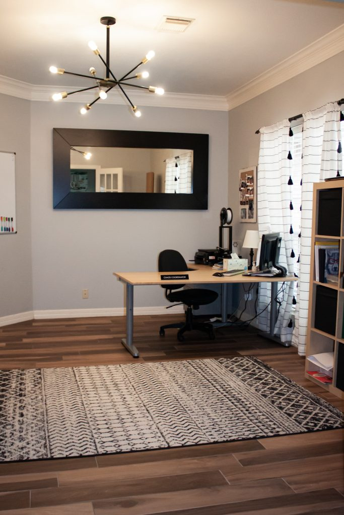 home office and study room with black and white decor and IKEA furniture