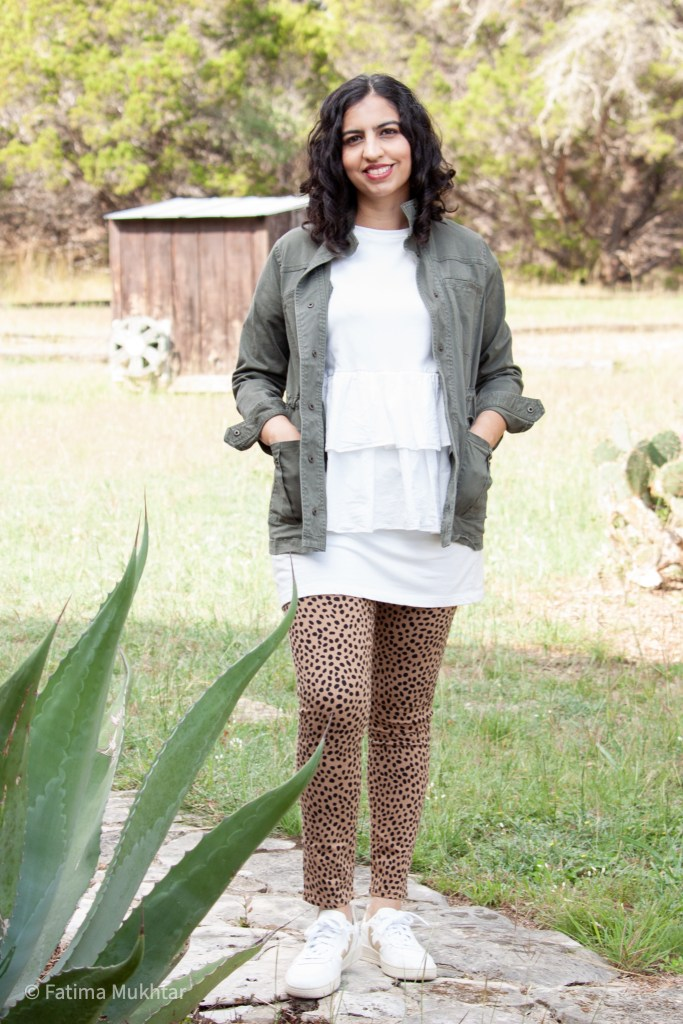 modest fall outfit idea cheetah pants and