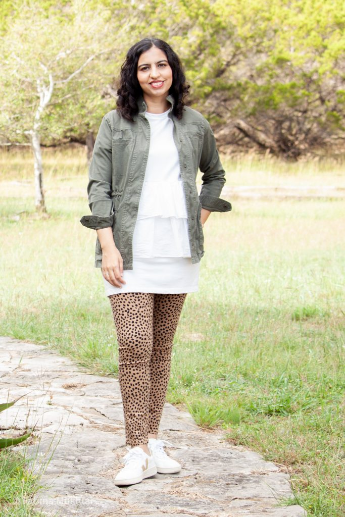 casual fall outfit idea utility jacket and cheetah jeans