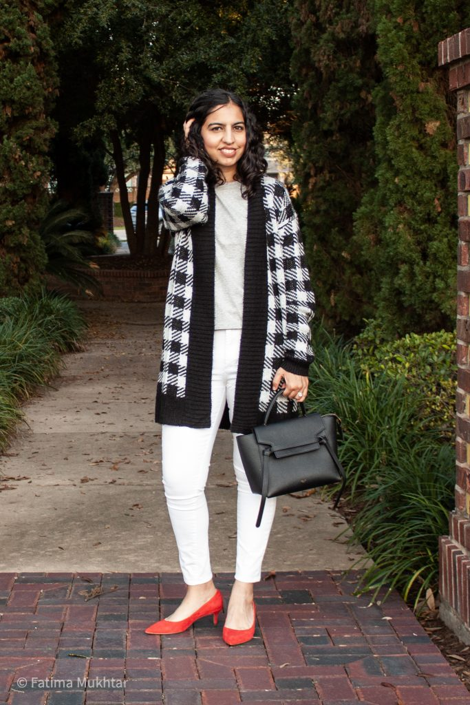long cardigan outfit ideas buffalo check and white jeans