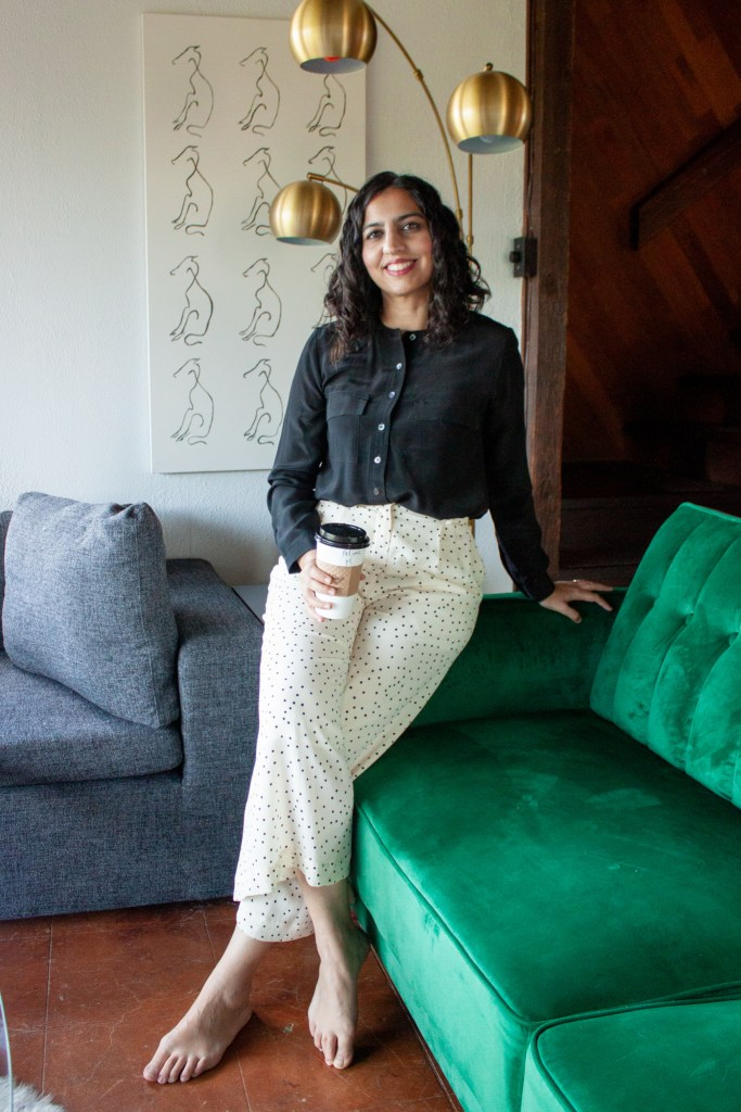 cute and modest work clothes black blouse and white polka dot wide leg pants