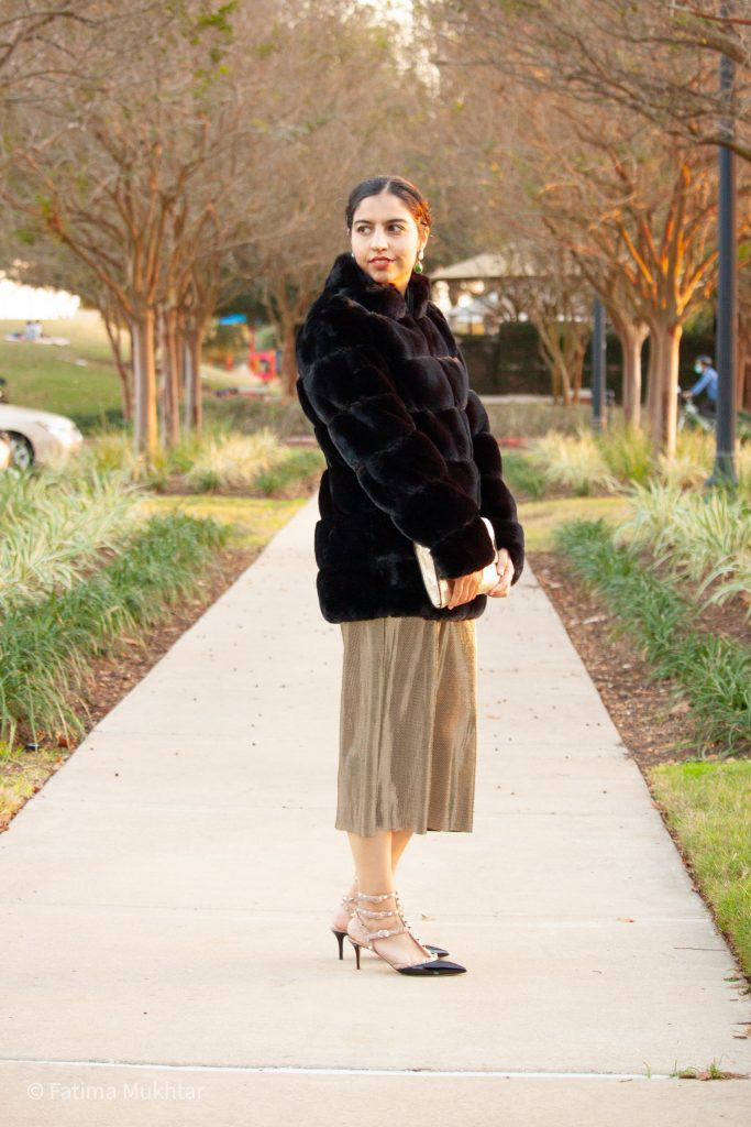 glamorous modest faux fur coat outfit