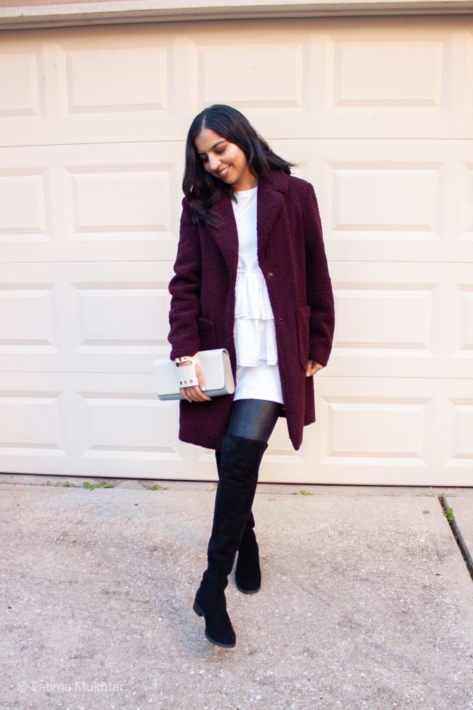 teddy coat, peplum dress, faux leather leggings, suede over the knee boots outfit