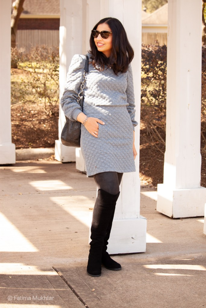 cozy co-ord skirt set gray quilted sweatshirt and mini skirt