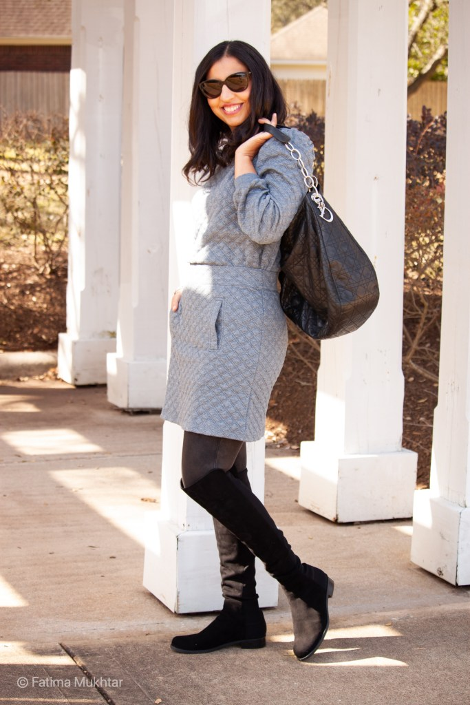cozy co-ord skirt set gray quilted sweatshirt and mini skirt set